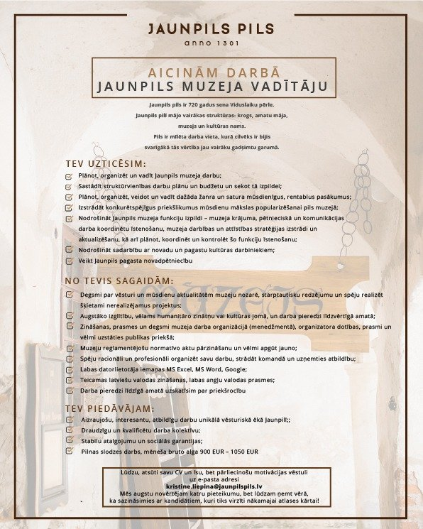 Vacancy of the museum manager Jaunpils castle